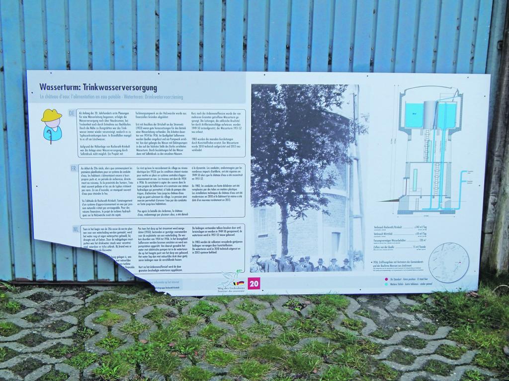 Tafel Wasserturm beschädigt